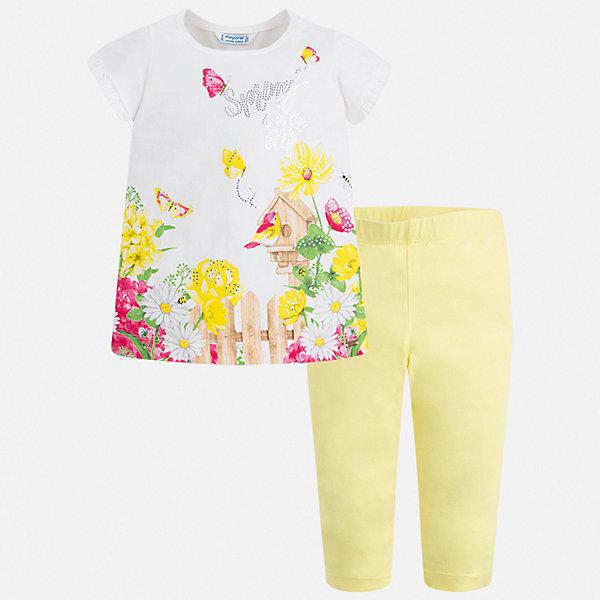 Комплект:леггинсы,блузка Mayoral для девочкиКомплекты<br>Характеристики товара:<br><br>• цвет: белый, желтый<br>• комплектация: леггинсы, футболка<br>• состав ткани: 95% хлопок, 5% эластан<br>• сезон: лето<br>• короткие рукава<br>• пояс: резинка<br>• стразы<br>• страна бренда: Испания<br>• стиль и качество Mayoral<br><br>Принтованная футболка и леггинсы для девочки от Майорал - отличный комплект для теплого времени года. В этом детском комплекте - сразу две качественные и модные вещи. В футболке и леггинсах для девочки от испанской компании Майорал ребенок будет чувствовать себя удобно благодаря высокому качеству материала и швов. <br><br>Комплект: леггинсы, футболка Mayoral (Майорал) для девочки можно купить в нашем интернет-магазине.<br>Ширина мм: 123; Глубина мм: 10; Высота мм: 149; Вес г: 209; Цвет: желтый; Возраст от месяцев: 18; Возраст до месяцев: 24; Пол: Женский; Возраст: Детский; Размер: 92,134,128,122,116,110,104,98; SKU: 7549479;