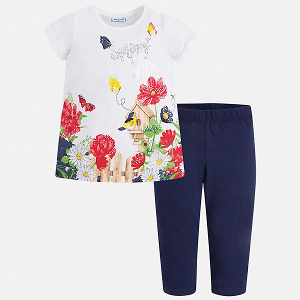 Комплект:леггинсы,блузка Mayoral для девочкиКомплекты<br>Характеристики товара:<br><br>• цвет: белый, синий<br>• комплектация: леггинсы, футболка<br>• состав ткани: 95% хлопок, 5% эластан<br>• сезон: лето<br>• короткие рукава<br>• пояс: резинка<br>• стразы<br>• страна бренда: Испания<br>• стиль и качество Mayoral<br><br>Трикотажные детские леггинсы и футболка сшиты из качественного материала с преобладанием хлопка в составе. Симпатичный комплект - детские леггинсы и футболка - подойдет для ношения в разных случаях. Этот комплект от Mayoral - отличный способ обеспечить ребенку комфорт в жаркую погоду. <br><br>Комплект: леггинсы, футболка Mayoral (Майорал) для девочки можно купить в нашем интернет-магазине.<br>Ширина мм: 123; Глубина мм: 10; Высота мм: 149; Вес г: 209; Цвет: синий; Возраст от месяцев: 18; Возраст до месяцев: 24; Пол: Женский; Возраст: Детский; Размер: 92,134,128,122,116,110,104,98; SKU: 7549488;