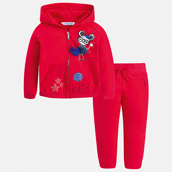 Спортивный костюм Mayoral для девочкиСпортивная одежда<br>Характеристики товара:<br><br>• цвет: красный<br>• комплектация: толстовка, брюки<br>• состав ткани: 96% хлопок, 4% эластан<br>• сезон: круглый год<br>• особенности модели: спортивный стиль, с капюшоном<br>• застежка: молния<br>• пояс: резинка<br>• длинные рукава<br>• страна бренда: Испания<br>• стиль и качество Mayoral<br><br>Параметры изделия:<br>• Длина внутреннего шва рукава: 39 см<br>• Длина внешнего шва рукава: 46 см<br>• Обхват талии: 28 см<br>• Длина внутреннего шва брюк: 53 см<br>• Длина внешнего шва брюк: 69 см<br><br>Хлопковый спортивный костюм - толстовка и брюки для девочки от Майорал - отлично сочетается между собой, а также с другими вещами. В этом детском спортивном костюме - сразу две удобные вещи. В спортивном костюме для девочки от испанской компании Майорал ребенок будет выглядеть модно, а чувствовать себя - удобно.<br><br>Спортивный костюм Mayoral (Майорал) для девочки можно купить в нашем интернет-магазине.<br>Ширина мм: 247; Глубина мм: 16; Высота мм: 140; Вес г: 225; Цвет: красный; Возраст от месяцев: 18; Возраст до месяцев: 24; Пол: Женский; Возраст: Детский; Размер: 92,134,128,122,116,110,104,98; SKU: 7549849;