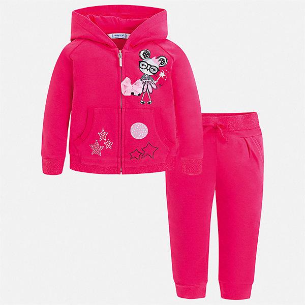 Спортивный костюм Mayoral для девочкиКомплекты<br>Характеристики товара:<br><br>• цвет: мульти<br>• комплектация: толстовка, брюки<br>• состав ткани: 96% хлопок, 4% эластан<br>• сезон: круглый год<br>• особенности модели: спортивный стиль, с капюшоном<br>• застежка: молния<br>• пояс: резинка<br>• длинные рукава<br>• страна бренда: Испания<br>• стиль и качество Mayoral<br><br>Такие толстовка и брюки для ребенка от Майорал - отличный комплект для занятия спортом. В этом детском спортивном костюме - сразу две качественные и модные вещи. В спортивном костюме для ребенка от испанской компании Майорал ребенок будет чувствовать себя удобно благодаря высокому качеству материала и швов. <br><br>Спортивный костюм Mayoral (Майорал) для девочки можно купить в нашем интернет-магазине.<br>Ширина мм: 247; Глубина мм: 16; Высота мм: 140; Вес г: 225; Цвет: розовый; Возраст от месяцев: 18; Возраст до месяцев: 24; Пол: Женский; Возраст: Детский; Размер: 92,134,128,122,116,110,104,98; SKU: 7549858;