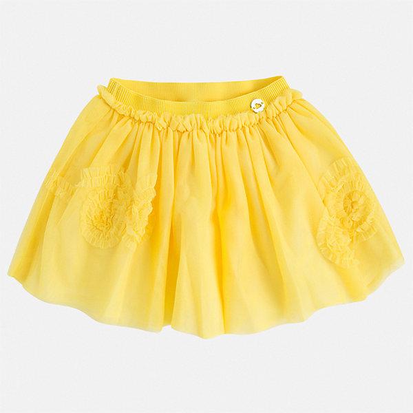 Юбка Mayoral для девочкиЮбки<br>Характеристики товара:<br><br>• цвет: желтый<br>• состав ткани верха: 100% полиэстер<br>• подкладка: 85% полиэстер, 15% хлопок<br>• сезон: круглый год<br>• особенности модели: нарядная<br>• талия: резинка<br>• страна бренда: Испания<br>• стиль и качество Mayoral<br><br>Тюлевая детская юбка от известного бренда Майорал отлично подходит для любого времени года. Эта детская юбка дополнена легкой подкладкой. Юбка для девочки сделана из качественного материала, швы тщательно обработаны. <br><br>Юбку для девочки Mayoral (Майорал) можно купить в нашем интернет-магазине.<br>Ширина мм: 207; Глубина мм: 10; Высота мм: 189; Вес г: 183; Цвет: желтый; Возраст от месяцев: 18; Возраст до месяцев: 24; Пол: Женский; Возраст: Детский; Размер: 92,134,128,122,116,110,104,98; SKU: 7549894;