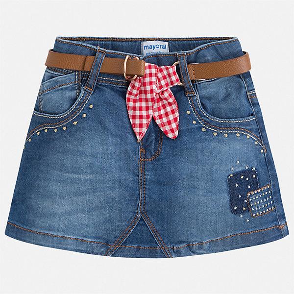 Юбка Mayoral для девочкиЮбки<br>Характеристики товара:<br><br>• цвет: синий<br>• комплектация: юбка, ремень<br>• состав ткани верха: 98% хлопок, 2% эластан<br>• сезон: круглый год<br>• застежка: молния<br>• шлевки<br>• страна бренда: Испания<br>• стиль и качество Mayoral<br><br>Такая детская юбка - отличный вариант основы для модного наряда. Такая юбка для девочки сделана из качественного материала, отлично держащего форму и цвет. Удобная детская юбка от известного бренда Майорал выглядит очень модно.<br><br>Юбку для девочки Mayoral (Майорал) можно купить в нашем интернет-магазине.<br>Ширина мм: 207; Глубина мм: 10; Высота мм: 189; Вес г: 183; Цвет: синий; Возраст от месяцев: 18; Возраст до месяцев: 24; Пол: Женский; Возраст: Детский; Размер: 92,134,128,122,116,110,104,98; SKU: 7549930;