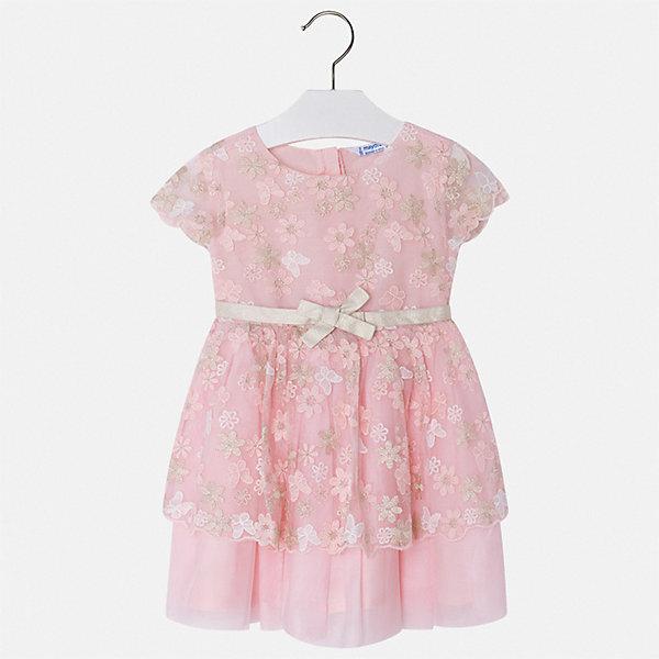 Платье Mayoral для девочкиОдежда<br>Характеристики товара:<br><br>• цвет: розовый<br>• состав ткани верха: 97% полиэстер, 3% металлизированная нить<br>• подкладка: 86% полиэстер, 14% хлопок<br>• сезон: круглый год<br>• застежка: молния<br>• короткие рукава<br>• страна бренда: Испания<br>• стиль и качество Mayoral<br><br>Нарядное платье для девочки от Майорал поможет обеспечить ребенку удобство и аккуратный внешний вид. Детское платье отличается качественными фурнитурой и материалом. В платье для девочки от испанской компании Майорал ребенок может чувствовать себя - комфортно. <br><br>Платье для девочки Mayoral (Майорал) можно купить в нашем интернет-магазине.<br>Ширина мм: 236; Глубина мм: 16; Высота мм: 184; Вес г: 177; Цвет: красный; Возраст от месяцев: 48; Возраст до месяцев: 60; Пол: Женский; Возраст: Детский; Размер: 110,104,98,116,134,128,122; SKU: 7549999;