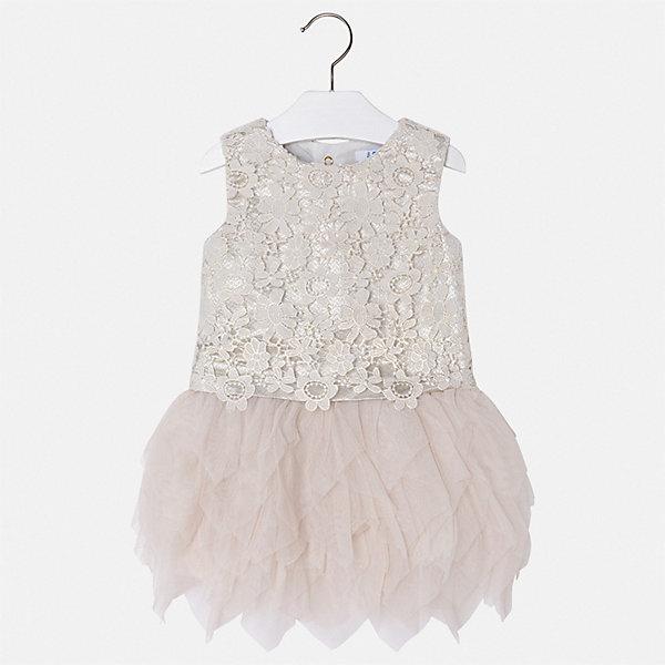 Платье Mayoral для девочкиОдежда<br>Характеристики товара:<br><br>• цвет: бежевый<br>• состав ткани верха: 100% полиэстер<br>• подкладка: 85% полиэстер, 15% хлопок<br>• сезон: круглый год<br>• особенности модели: нарядная<br>• застежка: молния<br>• без рукавов<br>• страна бренда: Испания<br>• стиль и качество Mayoral<br><br>Оригинальное детское платье отличается модным и продуманным дизайном. В платье для девочки от испанской компании Майорал можно пойти на торжественное мероприятие. Красивое платье для девочки от Майорал поможет обеспечить ребенку комфорт. <br><br>Платье для девочки Mayoral (Майорал) можно купить в нашем интернет-магазине.<br>Ширина мм: 236; Глубина мм: 16; Высота мм: 184; Вес г: 177; Цвет: бежевый; Возраст от месяцев: 96; Возраст до месяцев: 108; Пол: Женский; Возраст: Детский; Размер: 134,92,128,122,116,110,104,98; SKU: 7550015;