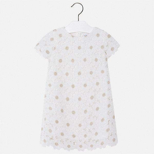 Платье MayoralПовседневные<br>Характеристики товара:<br><br>• состав ткани верха: 100% полиэстер<br>• подкладка: 50% полиэстер, 50% хлопок<br>• сезон: лето<br>• застежка: молния<br>• короткие рукава<br>• страна бренда: Испания<br>• стиль и качество Mayoral<br><br>Платье для девочки отличается стильным продуманным дизайном. Это  детское платье сделано из легкого приятного на ощупь материала. Благодаря качественной ткани детского платья для девочки создаются комфортные условия для тела.