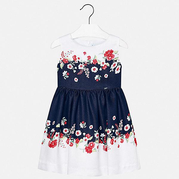 Платье Mayoral для девочкиЛетние платья и сарафаны<br>Характеристики товара:<br><br>• цвет: белый<br>• состав ткани верха: 79% вискоза, 21% полиэстер<br>• подкладка: 50% полиэстер, 50% хлопок<br>• сезон: лето<br>• застежка: молния<br>• без рукавов<br>• страна бренда: Испания<br>• стиль и качество Mayoral<br><br>Эффектное детское платье отличается качественными фурнитурой и материалом. Это платье для девочки от испанской компании Майорал опытные европейские дизайнеры создали специально для детей. Платье для девочки от Майорал поможет обеспечить ребенку удобство. <br><br>Платье для девочки Mayoral (Майорал) можно купить в нашем интернет-магазине.<br>Ширина мм: 236; Глубина мм: 16; Высота мм: 184; Вес г: 177; Цвет: синий; Возраст от месяцев: 18; Возраст до месяцев: 24; Пол: Женский; Возраст: Детский; Размер: 92,134,128,122,116,110,104,98; SKU: 7550412;