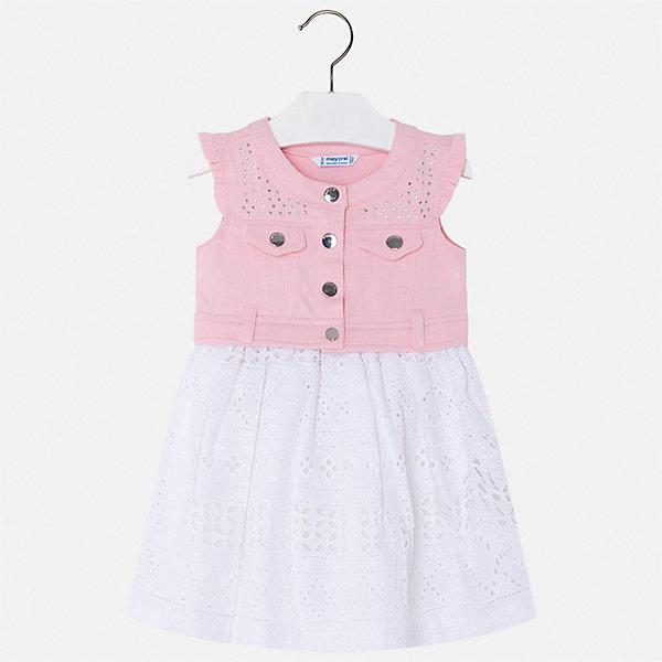 Платье Mayoral для девочкиОдежда<br>Характеристики товара:<br><br>• цвет: розовый<br>• состав ткани верха: 97% хлопок, 3% полиэстер<br>• подкладка: 65% полиэстер, 35% хлопок<br>• сезон: лето<br>• застежка: кнопки<br>• без рукавов<br>• стразы<br>• страна бренда: Испания<br>• стиль и качество Mayoral<br><br>Комбинированное платье для девочки отличается тщательной проработкой всех швов. Это детское платье сделано из качественного приятного на ощупь материала. Благодаря легкой ткани детского платья для девочки создаются комфортные условия для тела. <br><br>Платье для девочки Mayoral (Майорал) можно купить в нашем интернет-магазине.<br>Ширина мм: 236; Глубина мм: 16; Высота мм: 184; Вес г: 177; Цвет: розовый; Возраст от месяцев: 18; Возраст до месяцев: 24; Пол: Женский; Возраст: Детский; Размер: 92,134,128,122,116,110,104,98; SKU: 7550421;