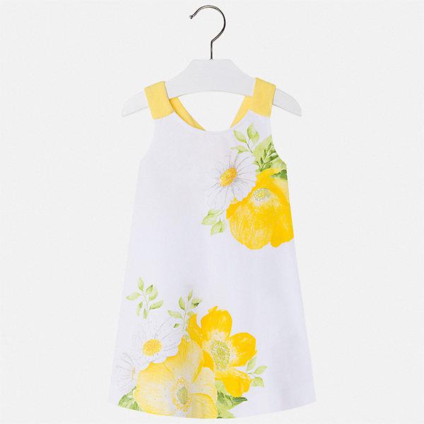 Платье Mayoral для девочкиЛетние платья и сарафаны<br>Характеристики товара:<br><br>• цвет: белый<br>• состав ткани верха: 92% хлопок, 8% эластан<br>• сезон: лето<br>• без рукавов<br>• стразы<br>• страна бренда: Испания<br>• стиль и качество Mayoral<br><br>Летнее детское платье сделано из качественного материала. Такое платье для девочки от Майорал поможет обеспечить ребенку комфорт, оно хорошо сочетается с различной обувью. Это платье для девочки отличается оригинальным кроем. <br><br>Платье для девочки Mayoral (Майорал) можно купить в нашем интернет-магазине.<br>Ширина мм: 236; Глубина мм: 16; Высота мм: 184; Вес г: 177; Цвет: желтый; Возраст от месяцев: 18; Возраст до месяцев: 24; Пол: Женский; Возраст: Детский; Размер: 92,134,128,122,116,110,104,98; SKU: 7550544;