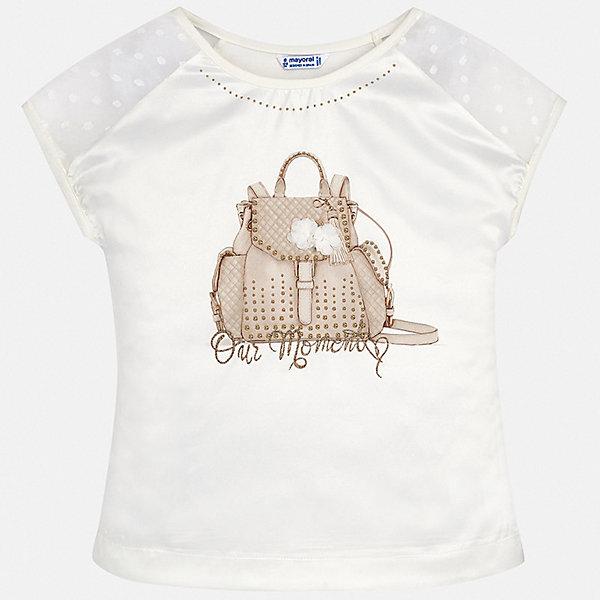 Футболка Mayoral для девочкиФутболки, поло и топы<br>Характеристики товара:<br><br>• цвет: белый<br>• состав ткани: 48% хлопок, 47% полиэстер, 5% эластан<br>• сезон: лето<br>• короткие рукава<br>• стразы<br>• страна бренда: Испания<br>• стиль и качество Mayoral<br><br>Белая детская футболка - отличная основа для составления различных нарядов. Эта хлопковая футболка для девочки от Майорал поможет обеспечить ребенку комфорт. В футболке для девочки от испанской компании Майорал ребенок будет чувствовать себя удобно благодаря качественным швам и приятному на ощупь материалу. <br><br>Футболку Mayoral (Майорал) для девочки можно купить в нашем интернет-магазине.<br>Ширина мм: 199; Глубина мм: 10; Высота мм: 161; Вес г: 151; Цвет: бежевый; Возраст от месяцев: 168; Возраст до месяцев: 180; Пол: Женский; Возраст: Детский; Размер: 170,128/134,164,158,152,140; SKU: 7550580;