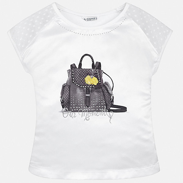 Футболка Mayoral для девочкиФутболки, поло и топы<br>Характеристики товара:<br><br>• цвет: белый<br>• состав ткани: 48% хлопок, 47% полиэстер, 5% эластан<br>• сезон: лето<br>• короткие рукава<br>• стразы<br>• страна бренда: Испания<br>• стиль и качество Mayoral<br><br>Стильная детская футболка сделана из качественной ткани, которая обеспечивает ребенку комфорт. Такая детская футболка поможет создать модный и удобный наряд для ребенка. Эта футболка для девочки от Mayoral - универсальная и комфортная базовая вещь для детского гардероба. <br><br>Футболку Mayoral (Майорал) для девочки можно купить в нашем интернет-магазине.<br>Ширина мм: 199; Глубина мм: 10; Высота мм: 161; Вес г: 151; Цвет: белый; Возраст от месяцев: 108; Возраст до месяцев: 120; Пол: Женский; Возраст: Детский; Размер: 140,128/134,170,164,158,152; SKU: 7550594;