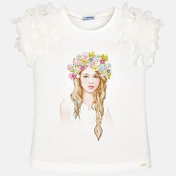 Футболка Mayoral для девочкиФутболки, поло и топы<br>Характеристики товара:<br><br>• цвет: белый<br>• состав ткани: 95% хлопок, 5% эластан<br>• сезон: лето<br>• короткие рукава<br>• стразы<br>• страна бренда: Испания<br>• стиль и качество Mayoral<br><br>Модная детская футболка сделана из качественной ткани, которая обеспечивает ребенку комфорт. Такая детская футболка поможет создать модный и удобный наряд для ребенка. Эта футболка для девочки от Mayoral - универсальная и комфортная базовая вещь для детского гардероба. <br><br>Футболку Mayoral (Майорал) для девочки можно купить в нашем интернет-магазине.<br>Ширина мм: 199; Глубина мм: 10; Высота мм: 161; Вес г: 151; Цвет: голубой; Возраст от месяцев: 96; Возраст до месяцев: 108; Пол: Женский; Возраст: Детский; Размер: 128/134,170,164,158,152,140; SKU: 7550613;