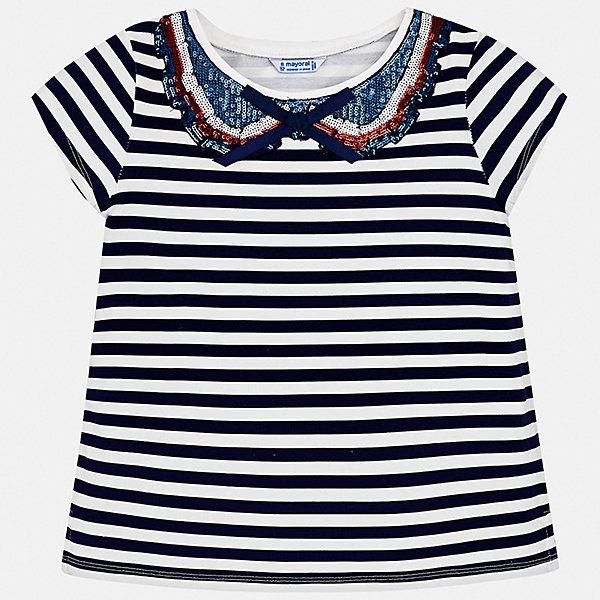 Футболка Mayoral для девочкиФутболки, поло и топы<br>Характеристики товара:<br><br>• цвет: синий<br>• состав ткани: 95% хлопок, 5% эластан<br>• сезон: лето<br>• короткие рукава<br>• пайетки<br>• страна бренда: Испания<br>• стиль и качество Mayoral<br><br>Полосатая детская футболка - отличная основа для составления различных нарядов. Эта хлопковая футболка для девочки от Майорал поможет обеспечить ребенку комфорт. В футболке для девочки от испанской компании Майорал ребенок будет чувствовать себя удобно благодаря качественным швам и приятному на ощупь материалу. <br><br>Футболку Mayoral (Майорал) для девочки можно купить в нашем интернет-магазине.<br>Ширина мм: 199; Глубина мм: 10; Высота мм: 161; Вес г: 151; Цвет: синий; Возраст от месяцев: 96; Возраст до месяцев: 108; Пол: Женский; Возраст: Детский; Размер: 128/134,170,164,158,152,140; SKU: 7550641;
