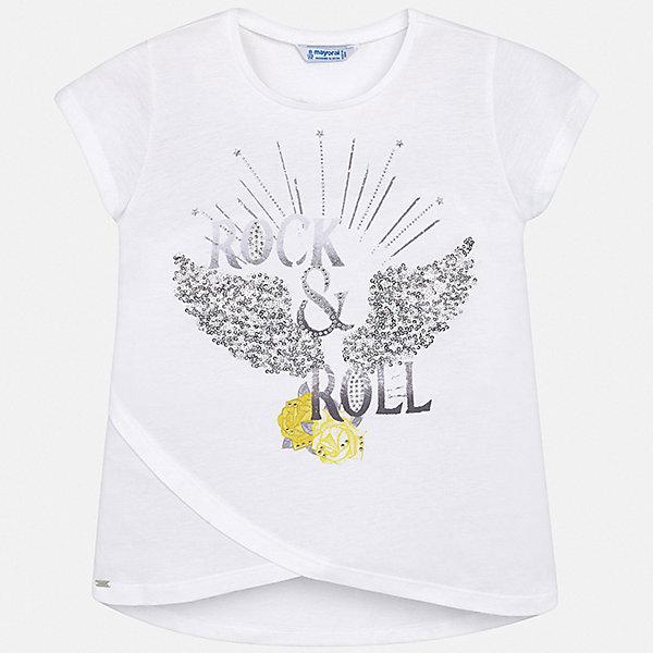 Футболка Mayoral для девочкиФутболки, поло и топы<br>Характеристики товара:<br><br>• цвет: белый<br>• состав ткани: 50% хлопок, 50% модал<br>• сезон: лето<br>• короткие рукава<br>• стразы<br>• страна бренда: Испания<br>• стиль и качество Mayoral<br><br>Белая детская футболка - отличная основа для составления различных нарядов. Эта хлопковая футболка для девочки от Майорал поможет обеспечить ребенку комфорт. В футболке для девочки от испанской компании Майорал ребенок будет чувствовать себя удобно благодаря качественным швам и приятному на ощупь материалу. <br><br>Футболку Mayoral (Майорал) для девочки можно купить в нашем интернет-магазине.<br>Ширина мм: 199; Глубина мм: 10; Высота мм: 161; Вес г: 151; Цвет: белый; Возраст от месяцев: 96; Возраст до месяцев: 108; Пол: Женский; Возраст: Детский; Размер: 128/134,170,164,158,152,140; SKU: 7550662;