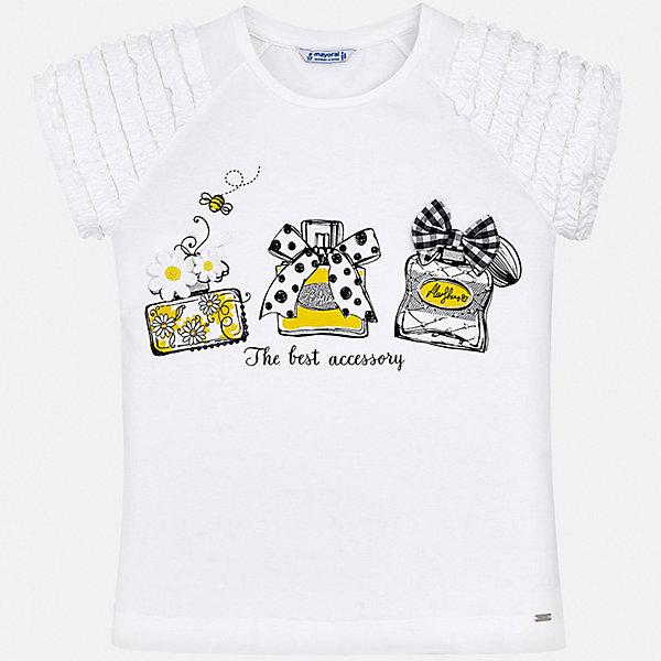 Футболка Mayoral для девочкиФутболки, поло и топы<br>Характеристики товара:<br><br>• цвет: белый<br>• состав ткани: 95% хлопок, 5% эластан<br>• сезон: лето<br>• короткие рукава<br>• стразы<br>• страна бренда: Испания<br>• стиль и качество Mayoral<br><br>Такая футболка для девочки от Mayoral - универсальная и комфортная базовая вещь для детского гардероба. Эта детская футболка сделана из качественной ткани, которая обеспечивает ребенку комфорт. Такая детская футболка поможет создать модный и удобный наряд для ребенка. <br><br>Футболку Mayoral (Майорал) для девочки можно купить в нашем интернет-магазине.<br>Ширина мм: 199; Глубина мм: 10; Высота мм: 161; Вес г: 151; Цвет: черный; Возраст от месяцев: 132; Возраст до месяцев: 144; Пол: Женский; Возраст: Детский; Размер: 152,170,164,158,140,128/134; SKU: 7551124;