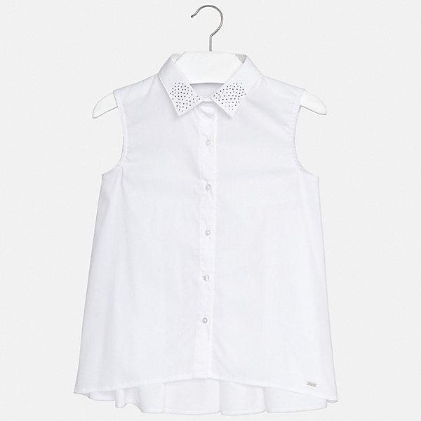 Блуза Mayoral для девочкиБлузки и рубашки<br>Характеристики товара:<br><br>• цвет: белый<br>• состав ткани: 74% хлопок, 23% полиамид, 3% эластан<br>• сезон: лето<br>• застежка: пуговицы<br>• без рукавов<br>• стразы<br>• страна бренда: Испания<br>• стиль и качество Mayoral<br><br>Такая детская блуза - стильная и удобная вещь. Эта блуза для девочки от Майорал поможет обеспечить ребенку комфорт. В блузе для девочки от испанской компании Майорал ребенок будет чувствовать себя удобно благодаря тщательно обработанным швам и качественному материалу. <br><br>Блузу Mayoral (Майорал) для девочки можно купить в нашем интернет-магазине.<br>Ширина мм: 186; Глубина мм: 87; Высота мм: 198; Вес г: 197; Цвет: белый; Возраст от месяцев: 108; Возраст до месяцев: 120; Пол: Женский; Возраст: Детский; Размер: 140,128/134,170,164,158,152; SKU: 7551291;