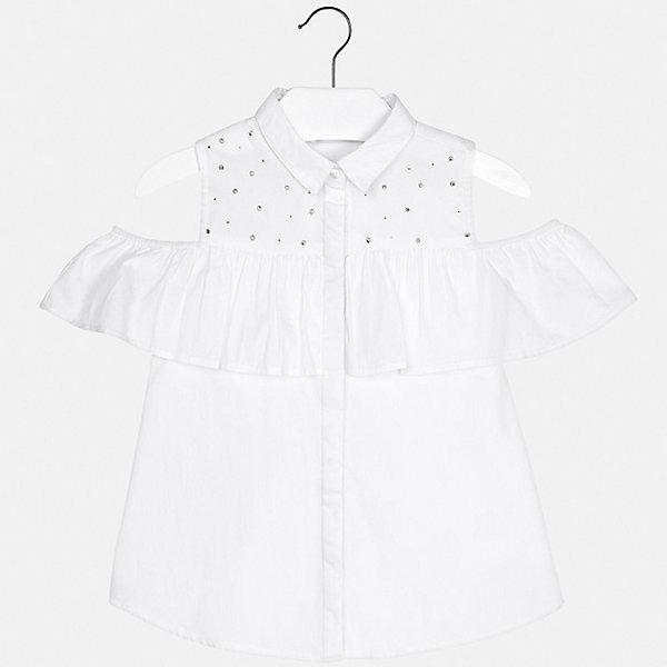Блуза Mayoral для девочкиБлузки и рубашки<br>Характеристики товара:<br><br>• цвет: белый<br>• состав ткани: 62% хлопок, 35% полиамид, 3% эластан<br>• сезон: лето<br>• застежка: пуговицы<br>• короткие рукава<br>• стразы<br>• страна бренда: Испания<br>• стиль и качество Mayoral<br><br>Легкая детская блуза отличается модным дизайном от ведущих специалистов испанского бренда Mayoral. Эта блуза для девочки смотрится стильно, хорошо сочетается с юбками и брюками. Детская блуза украшена оригинальным декором. <br><br>Блузу Mayoral (Майорал) для девочки можно купить в нашем интернет-магазине.<br>Ширина мм: 186; Глубина мм: 87; Высота мм: 198; Вес г: 197; Цвет: белый; Возраст от месяцев: 132; Возраст до месяцев: 144; Пол: Женский; Возраст: Детский; Размер: 152,128/134,170,164,158,140; SKU: 7551340;