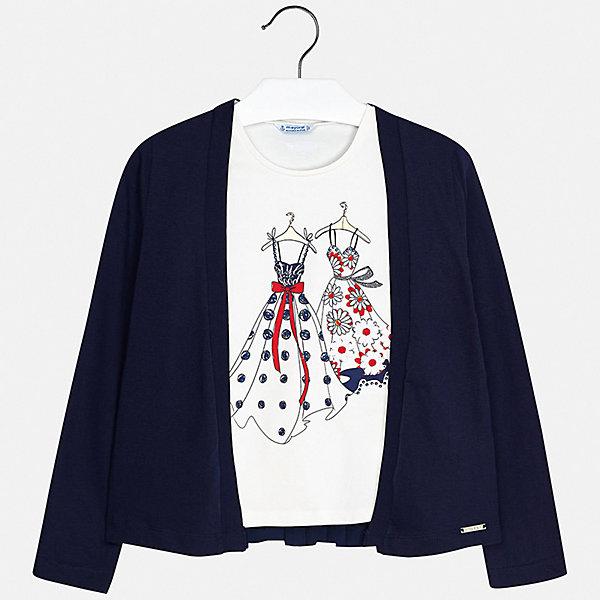 Комплект:блузка,кардиган Mayoral для девочкиКомплекты<br>Характеристики товара:<br><br>• цвет: синий<br>• комплектация: блузка, кардиган <br>• состав ткани блузки: 92% хлопок, 8% эластан<br>• состав ткани кардигана: 100% полиэстер<br>• сезон: демисезон<br>• страна бренда: Испания<br>• стиль и качество Mayoral<br><br>В таком комплекте для девочки от испанской компании Майорал ребенок будет чувствовать себя удобно благодаря тщательно обработанным швам и качественному материалу. Детская блуза и кардиган - стильные модели, которые можно комбинировать с другими вещами. Эти блуза и кардиган для девочки от Майорал разработаны дизайнерами Mayoral специально для девочек.<br><br>Комплект: блузка, кардиган Mayoral (Майорал) для девочки можно купить в нашем интернет-магазине.<br>Ширина мм: 190; Глубина мм: 74; Высота мм: 229; Вес г: 236; Цвет: синий; Возраст от месяцев: 96; Возраст до месяцев: 108; Пол: Женский; Возраст: Детский; Размер: 128/134,170,164,158,152,140; SKU: 7551354;