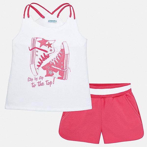 Комплект:шорты,футболка Mayoral для девочкиКомплекты<br>Характеристики товара:<br><br>• цвет: фуксия<br>• комплектация: шорты, футболка<br>• состав ткани: 95% хлопок, 5% эластан<br>• сезон: лето<br>• без рукавов<br>• стразы<br>• талия: резинка, шнурок<br>• страна бренда: Испания<br>• стиль и качество Mayoral<br><br>Оригинальные футболка и шорты для девочки от Майорал - отличный комплект для жаркого времени года. В этом детском комплекте - сразу две качественные и модные вещи. В футболке и шортах для девочки от испанской компании Майорал ребенок будет чувствовать себя удобно благодаря высокому качеству материала и швов. <br><br>Комплект: шорты, футболка Mayoral (Майорал) для девочки можно купить в нашем интернет-магазине.<br>Ширина мм: 191; Глубина мм: 10; Высота мм: 175; Вес г: 273; Цвет: розовый; Возраст от месяцев: 96; Возраст до месяцев: 108; Пол: Женский; Возраст: Детский; Размер: 128/134,164,158,152,140; SKU: 7551443;