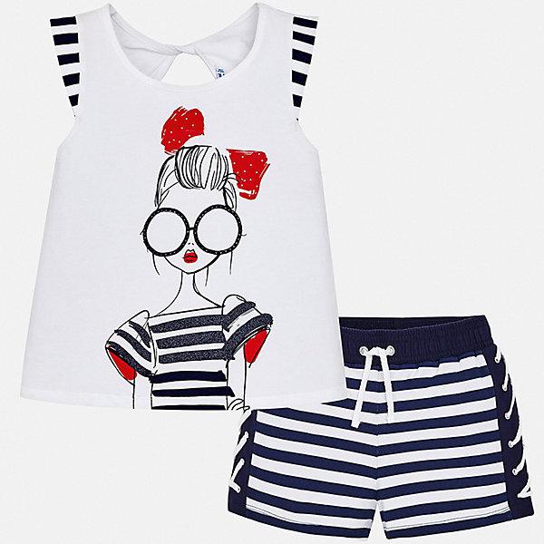 Комплект:шорты,футболка Mayoral для девочкиКомплекты<br>Характеристики товара:<br><br>• цвет: синий<br>• комплектация: шорты, футболка<br>• состав ткани: 95% хлопок, 5% эластан<br>• сезон: лето<br>• короткие рукава<br>• стразы<br>• талия: резинка, шнурок<br>• страна бренда: Испания<br>• стиль и качество Mayoral<br><br>Хлопковые футболка и шорты для девочки от Майорал помогут обеспечить ребенку комфорт в жаркое время года. В таком детском комплекте - сразу две стильные вещи. В футболке и шортах для девочки от испанской компании Майорал ребенок будет выглядеть модно, а чувствовать себя - удобно.<br><br>Комплект: шорты, футболка Mayoral (Майорал) для девочки можно купить в нашем интернет-магазине.<br>Ширина мм: 191; Глубина мм: 10; Высота мм: 175; Вес г: 273; Цвет: синий; Возраст от месяцев: 96; Возраст до месяцев: 108; Пол: Женский; Возраст: Детский; Размер: 128/134,140,170,164,158,152; SKU: 7551449;