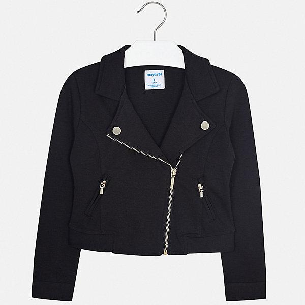 Пиджак Mayoral для девочкиКостюмы и пиджаки<br>Характеристики товара:<br><br>• цвет: черный<br>• состав ткани: 64% полиэстер, 35% вискоза, 1% эластан<br>• сезон: демисезон<br>• длинные рукава<br>• застежка: молния<br>• страна бренда: Испания<br>• стиль и качество Mayoral<br><br>Черный пиджак для девочки Mayoral дополнен удобной молнией. Пиджак для ребенка отличается современным силуэтом. Детский пиджак обеспечит ребенку стильный внешний вид. Детский пиджак сшит из качественного приятного на ощупь материала.<br><br>Пиджак Mayoral (Майорал) для девочки можно купить в нашем интернет-магазине.