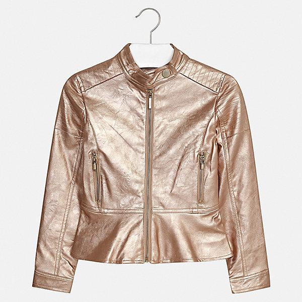 Куртка Mayoral для девочкиВерхняя одежда<br>Характеристики товара:<br><br>• цвет: золотой<br>• состав ткани: 100% полиуретан<br>• подкладка: 100% полиэстер<br>• утеплитель: нет<br>• сезон: демисезон<br>• особенности куртки: без капюшона<br>• застежка: молния<br>• страна бренда: Испания<br>• стиль и качество Mayoral<br><br>Оригинальная детская куртка подойдет для переменной погоды. Такая куртка от испанского бренда Mayoral - хороший способ обеспечить ребенку тепло и комфорт. Детская куртка сделана из качественных материала и фурнитуры.<br><br>Куртку Mayoral (Майорал) для девочки можно купить в нашем интернет-магазине.<br>Ширина мм: 356; Глубина мм: 10; Высота мм: 245; Вес г: 519; Цвет: желтый; Возраст от месяцев: 96; Возраст до месяцев: 108; Пол: Женский; Возраст: Детский; Размер: 128/134,170,164,158,152,140; SKU: 7551603;
