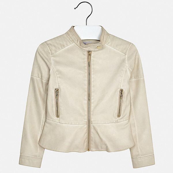 Куртка Mayoral для девочкиВерхняя одежда<br>Характеристики товара:<br><br>• цвет: синий<br>• состав ткани: 100% полиуретан<br>• подкладка: 100% полиэстер<br>• утеплитель: нет<br>• сезон: демисезон<br>• особенности куртки: без капюшона<br>• застежка: молния<br>• страна бренда: Испания<br>• стиль и качество Mayoral<br><br>Бежевая куртка для девочки от Майорал поможет обеспечить ребенку комфорт и тепло. Детская куртка отличается модным и продуманным дизайном. В куртке для девочки от испанской компании Майорал ребенок будет выглядеть модно, а чувствовать себя - комфортно. <br><br>Куртку Mayoral (Майорал) для девочки можно купить в нашем интернет-магазине.<br>Ширина мм: 356; Глубина мм: 10; Высота мм: 245; Вес г: 519; Цвет: бежевый; Возраст от месяцев: 168; Возраст до месяцев: 180; Пол: Женский; Возраст: Детский; Размер: 170,164,158,152,140,128/134; SKU: 7551617;