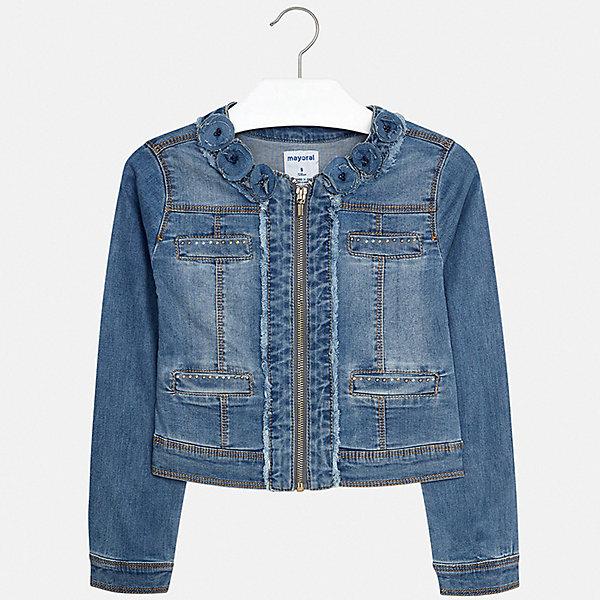 Куртка Mayoral для девочкиДжинсовая одежда<br>Характеристики товара:<br><br>• цвет: синий<br>• состав ткани: 98% хлопок, 2% эластан<br>• утеплитель: нет<br>• сезон: демисезон<br>• особенности куртки: без капюшона<br>• застежка: молния<br>• стразы<br>• страна бренда: Испания<br>• стиль и качество Mayoral<br><br>Хлопковая куртка для девочки от Майорал - пример качественной и стильной одежды. Детская куртка отличается модным и продуманным дизайном. В куртке для девочки от испанской компании Майорал ребенок может чувствовать себя комфортно весь день. <br><br>Куртку Mayoral (Майорал) для девочки можно купить в нашем интернет-магазине.<br>Ширина мм: 356; Глубина мм: 10; Высота мм: 245; Вес г: 519; Цвет: белый; Возраст от месяцев: 96; Возраст до месяцев: 108; Пол: Женский; Возраст: Детский; Размер: 128/134,170,164,158,152,140; SKU: 7551638;