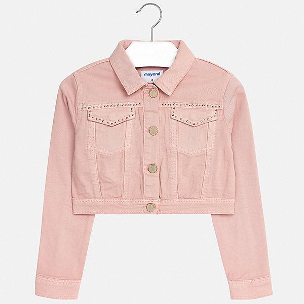 Куртка Mayoral для девочкиДжинсовая одежда<br>Характеристики товара:<br><br>• цвет: розовый<br>• состав ткани: 98% хлопок, 2% эластан<br>• утеплитель: нет<br>• сезон: демисезон<br>• особенности куртки: без капюшона<br>• застежка: пуговицы<br>• стразы<br>• страна бренда: Испания<br>• стиль и качество Mayoral<br><br>Укороченная детская куртка отлично подходит для прохладной погоды. Такая куртка от испанского бренда Mayoral была разработана специально для детей с учетом их потребностей. Детская куртка сделана из качественных материала и фурнитуры.<br><br>Куртку Mayoral (Майорал) для девочки можно купить в нашем интернет-магазине.