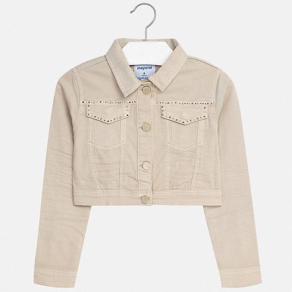 Куртка Mayoral для девочкиДжинсовая одежда<br>Характеристики товара:<br><br>• цвет: бежевый<br>• состав ткани: 98% хлопок, 2% эластан<br>• утеплитель: нет<br>• сезон: демисезон<br>• особенности куртки: без капюшона<br>• застежка: пуговицы<br>• стразы<br>• страна бренда: Испания<br>• стиль и качество Mayoral<br><br>Бежевая детская куртка сделана из качественного материала и фурнитуры. Такая куртка для девочки отличается стильным продуманным кроем от европейских дизайнеров, детская куртка разработана с учетом последних тенденций в моде. В куртке для ребенка - удобная застежка. <br><br>Куртку Mayoral (Майорал) для девочки можно купить в нашем интернет-магазине.