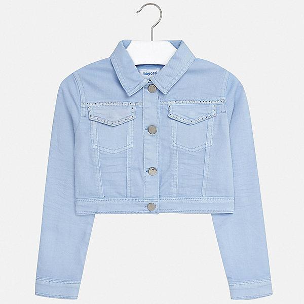 Куртка Mayoral для девочкиДжинсовая одежда<br>Характеристики товара:<br><br>• цвет: голубой<br>• состав ткани: 98% хлопок, 2% эластан<br>• утеплитель: нет<br>• сезон: демисезон<br>• особенности куртки: без капюшона<br>• застежка: пуговицы<br>• стразы<br>• страна бренда: Испания<br>• стиль и качество Mayoral<br><br>Голубая куртка для девочки от Майорал - пример качественной и стильной одежды. Детская куртка отличается модным и продуманным дизайном. В куртке для девочки от испанской компании Майорал ребенок может чувствовать себя комфортно весь день. <br><br>Куртку Mayoral (Майорал) для девочки можно купить в нашем интернет-магазине.<br>Ширина мм: 356; Глубина мм: 10; Высота мм: 245; Вес г: 519; Цвет: голубой; Возраст от месяцев: 96; Возраст до месяцев: 108; Пол: Женский; Возраст: Детский; Размер: 128/134,170,164,158,152,140; SKU: 7551659;