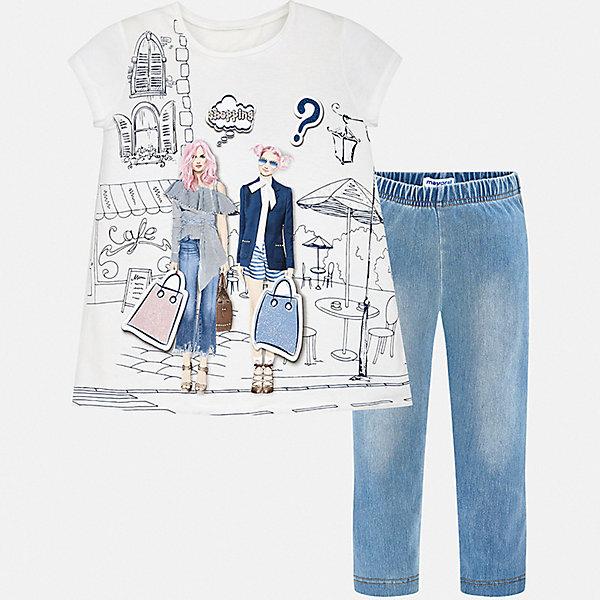 Комплект:брюки,пуловер Mayoral для девочкиКомплекты<br>Характеристики товара:<br><br>• цвет: белый, голубой<br>• комплектация: леггинсы, футболка<br>• состав ткани футболки: 95% хлопок, 5% эластан<br>• состав ткани леггинсов: 57% хлопок, 28% полиэстер, 15% эластан<br>• сезон: лето<br>• короткие рукава<br>• пояс: резинка<br>• страна бренда: Испания<br>• стиль и качество Mayoral<br><br>Такой комплект - футболка с принтом и леггинсы для девочки от Майорал - отлично сочетается между собой, а также с другими вещами. В этом детском наборе - сразу две модные вещи. В футболке и леггинсах для девочки от испанской компании Майорал ребенок будет выглядеть стильно и оригинально.<br><br>Комплект: леггинсы, футболка Mayoral (Майорал) для девочки можно купить в нашем интернет-магазине.<br>Ширина мм: 215; Глубина мм: 88; Высота мм: 191; Вес г: 336; Цвет: белый; Возраст от месяцев: 132; Возраст до месяцев: 144; Пол: Женский; Возраст: Детский; Размер: 152,140,164,158,128/134; SKU: 7551813;
