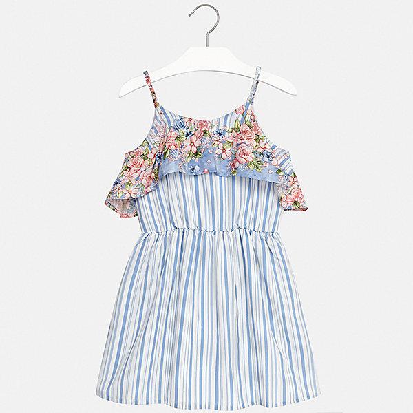 Платье Mayoral для девочкиЛетние платья и сарафаны<br>Характеристики товара:<br><br>• цвет: голубой<br>• состав ткани верха: 100% полиэстер<br>• подкладка: 100% вискоза<br>• сезон: лето<br>• короткие рукава<br>• страна бренда: Испания<br>• стиль и качество Mayoral<br><br>Летнее платье для девочки от испанской компании Майорал - пример стильной и качественной одежды. Это платье для девочки от Майорал поможет обеспечить ребенку удобство. Детское платье отличается качественными фурнитурой и материалом. <br><br>Платье для девочки Mayoral (Майорал) можно купить в нашем интернет-магазине.<br>Ширина мм: 236; Глубина мм: 16; Высота мм: 184; Вес г: 177; Цвет: синий; Возраст от месяцев: 156; Возраст до месяцев: 168; Пол: Женский; Возраст: Детский; Размер: 164,128/134,170,158,152,140; SKU: 7552414;