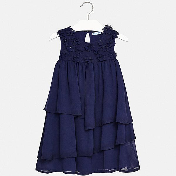Платье Mayoral для девочкиОдежда<br>Характеристики товара:<br><br>• цвет: синий<br>• состав ткани верха: 93% полиэстер, 5% хлопок, 2% эластан<br>• подкладка: 100% вискоза<br>• сезон: лето<br>• застежка: пуговица<br>• без рукавов<br>• стразы<br>• страна бренда: Испания<br>• стиль и качество Mayoral<br><br>Многослойное платье для девочки от испанской компании Майорал - пример стильной и качественной одежды. Это платье для девочки от Майорал поможет обеспечить ребенку удобство. Детское платье отличается качественными фурнитурой и материалом. <br><br>Платье для девочки Mayoral (Майорал) можно купить в нашем интернет-магазине.<br>Ширина мм: 236; Глубина мм: 16; Высота мм: 184; Вес г: 177; Цвет: синий; Возраст от месяцев: 144; Возраст до месяцев: 156; Пол: Женский; Возраст: Детский; Размер: 164,170,158,152,140,128/134; SKU: 7552435;