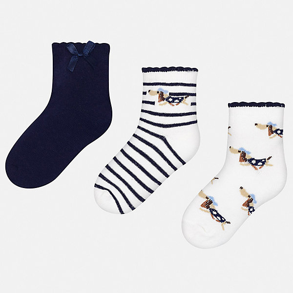 Комплект:3 пары носок Mayoral для девочкиНоски<br>Характеристики товара:<br><br>• цвет: белый<br>• комплектация: 3 пары<br>• состав ткани: 74% хлопок, 33% полиамид, 3% эластан<br>• сезон: круглый год<br>• страна бренда: Испания<br>• стиль и качество Mayoral<br><br>Такие детские носки, как и вся одежда от испанской компании Mayoral, отличаются продуманным дизайном. Эти мягкие детские носки Mayoral обеспечат ребенку комфорт и аккуратный внешний вид. Набор носков для девочки от Майорал симпатично смотрится, они удобно сидят благодаря качественному дышащему трикотажу. <br><br>Комплект: 3 пары носков Mayoral (Майорал) для девочки можно купить в нашем интернет-магазине.<br>Ширина мм: 87; Глубина мм: 10; Высота мм: 105; Вес г: 115; Цвет: синий; Возраст от месяцев: 24; Возраст до месяцев: 36; Пол: Женский; Возраст: Детский; Размер: 24-26,33-35,30-32,27-29; SKU: 7552586;