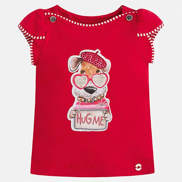 Футболка Mayoral для девочкиФутболки, поло и топы<br>Характеристики товара:<br><br>• цвет: красный<br>• состав ткани: 95% хлопок, 5% эластан<br>• сезон: лето<br>• короткие рукава<br>• стразы<br>• страна бренда: Испания<br>• стиль и качество Mayoral<br><br>Такая футболка для девочки создана с учетом потребностей детей и последних тенденций в моде. Швы детской футболки тщательно обработаны. Эта детская футболка с коротким рукавом украшена эффектным декором от ведущих дизайнеров испанского бренда Mayoral.<br><br>Футболку Mayoral (Майорал) для девочки можно купить в нашем интернет-магазине.<br>Ширина мм: 199; Глубина мм: 10; Высота мм: 161; Вес г: 151; Цвет: красный; Возраст от месяцев: 18; Возраст до месяцев: 24; Пол: Женский; Возраст: Детский; Размер: 92,116,110,104,98; SKU: 7553213;