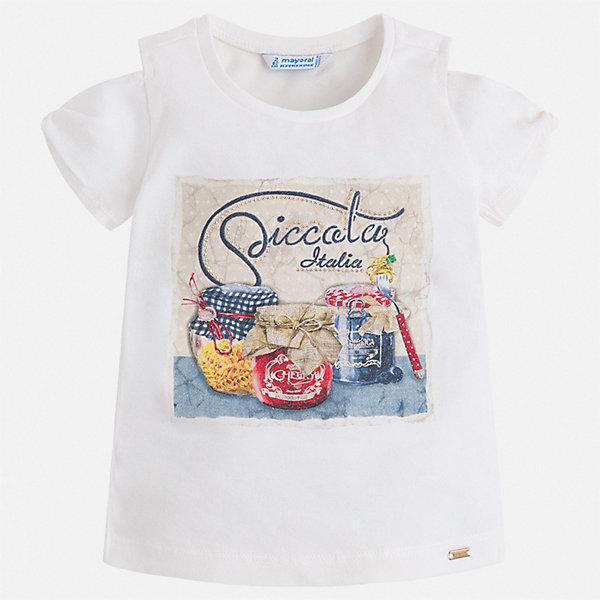 Футболка Mayoral для девочкиФутболки, поло и топы<br>Характеристики товара:<br><br>• цвет: белый<br>• состав ткани: 95% хлопок, 5% эластан<br>• сезон: лето<br>• короткие рукава<br>• стразы<br>• страна бренда: Испания<br>• стиль и качество Mayoral<br><br>Модная детская футболка с коротким рукавом украшена эффектным декором от ведущих дизайнеров испанского бренда Mayoral. Эта футболка для девочки создана с учетом потребностей детей и последних тенденций в моде. Швы детской футболки тщательно обработаны. <br><br>Футболку Mayoral (Майорал) для девочки можно купить в нашем интернет-магазине.<br>Ширина мм: 199; Глубина мм: 10; Высота мм: 161; Вес г: 151; Цвет: бежевый; Возраст от месяцев: 48; Возраст до месяцев: 60; Пол: Женский; Возраст: Детский; Размер: 110,134,104,98,92,128,122,116; SKU: 7553255;