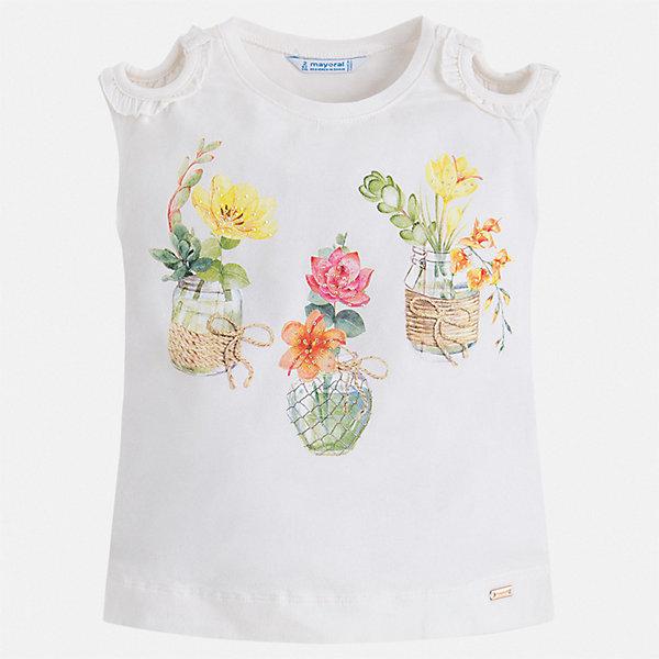 Футболка Mayoral для девочкиФутболки, поло и топы<br>Характеристики товара:<br><br>• цвет: белый<br>• состав ткани: 95% хлопок, 5% эластан<br>• сезон: лето<br>• короткие рукава<br>• страна бренда: Испания<br>• стиль и качество Mayoral<br><br>Модная детская футболка может стать отличной основой для составления различных нарядов. В футболке для девочки от испанской компании Майорал ребенок будет чувствовать себя удобно благодаря качественным швам и приятному на ощупь материалу. Эта футболка для девочки от Майорал поможет обеспечить ребенку комфорт.<br><br>Футболку Mayoral (Майорал) для девочки можно купить в нашем интернет-магазине.<br>Ширина мм: 199; Глубина мм: 10; Высота мм: 161; Вес г: 151; Цвет: бежевый; Возраст от месяцев: 18; Возраст до месяцев: 24; Пол: Женский; Возраст: Детский; Размер: 92,134,128,122,116,110,104,98; SKU: 7553298;