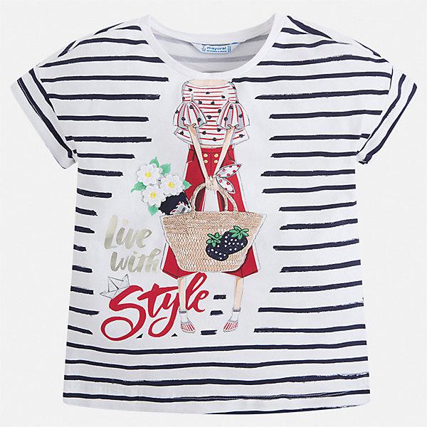 Футболка Mayoral для девочкиФутболки, поло и топы<br>Характеристики товара:<br><br>• цвет: белый<br>• состав ткани: 95% хлопок, 5% эластан<br>• сезон: лето<br>• короткие рукава<br>• страна бренда: Испания<br>• стиль и качество Mayoral<br><br>Хлопковая футболка для девочки от Mayoral разнообразит детский гардероб. Эта детская футболка сделана из дышащей гипоаллергенной ткани, которая обеспечивает ребенку комфорт. Детская футболка поможет создать модный и удобный наряд для ребенка.<br><br>Футболку Mayoral (Майорал) для девочки можно купить в нашем интернет-магазине.<br>Ширина мм: 199; Глубина мм: 10; Высота мм: 161; Вес г: 151; Цвет: синий; Возраст от месяцев: 18; Возраст до месяцев: 24; Пол: Женский; Возраст: Детский; Размер: 98,104,92,134,128,122,116,110; SKU: 7553537;