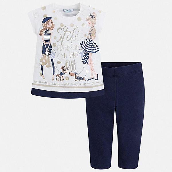 Комплект: футболка и бриджи Mayoral для девочкиКомплекты<br>Характеристики товара:<br><br>• цвет: белый, синий<br>• комплектация: леггинсы, футболка<br>• состав ткани: 95% хлопок, 5% эластан<br>• сезон: лето<br>• короткие рукава<br>• пояс: резинка<br>• страна бренда: Испания<br>• стиль и качество Mayoral<br><br>Принтованная футболка и леггинсы для девочки от Майорал - отличный комплект для теплого времени года. В этом детском комплекте - сразу две качественные и модные вещи. В футболке и леггинсах для девочки от испанской компании Майорал ребенок будет чувствовать себя удобно благодаря высокому качеству материала и швов. <br><br>Комплект: леггинсы, футболка Mayoral (Майорал) для девочки можно купить в нашем интернет-магазине.<br>Ширина мм: 191; Глубина мм: 10; Высота мм: 175; Вес г: 273; Цвет: синий; Возраст от месяцев: 18; Возраст до месяцев: 24; Пол: Женский; Возраст: Детский; Размер: 92,134,128,122,116,110,104,98; SKU: 7553740;