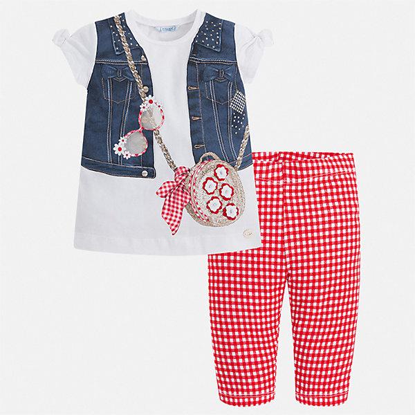 Комплект:брюки,пуловер Mayoral для девочкиКомплекты<br>Характеристики товара:<br><br>• цвет: белый, синий, красный<br>• комплектация: леггинсы, футболка<br>• состав ткани: 95% хлопок, 5% эластан<br>• сезон: лето<br>• короткие рукава<br>• стразы<br>• пояс: резинка<br>• страна бренда: Испания<br>• стиль и качество Mayoral<br><br>Такие детские леггинсы и футболка сшиты из качественного материала с преобладанием хлопка в составе. Симпатичный комплект - детские леггинсы и футболка - подойдет для ношения в разных случаях. Этот комплект от Mayoral - отличный способ обеспечить ребенку комфорт в жаркую погоду. <br><br>Комплект: леггинсы, футболка Mayoral (Майорал) для девочки можно купить в нашем интернет-магазине.<br>Ширина мм: 215; Глубина мм: 88; Высота мм: 191; Вес г: 336; Цвет: красный; Возраст от месяцев: 18; Возраст до месяцев: 24; Пол: Женский; Возраст: Детский; Размер: 92,134,128,122,116,110,104,98; SKU: 7553776;