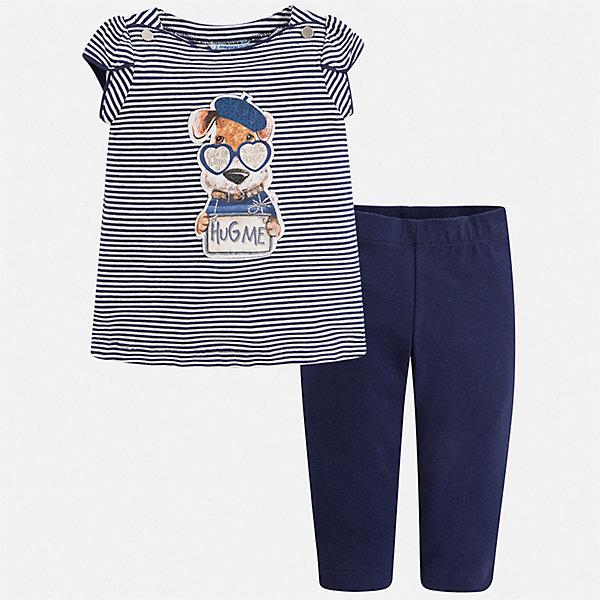Комплект:леггинсы,блузка Mayoral для девочкиКомплекты<br>Характеристики товара:<br><br>• цвет: синий<br>• комплектация: леггинсы, футболка<br>• состав ткани: 95% хлопок, 5% эластан<br>• сезон: лето<br>• пояс: резинка<br>• короткие рукава<br>• стразы<br>• страна бренда: Испания<br>• стиль и качество Mayoral<br><br>Трикотажные детские леггинсы и футболка сшиты из качественного материала с преобладанием хлопка в составе. Симпатичный комплект - детские леггинсы и футболка - подойдет для ношения в разных случаях. Этот комплект от Mayoral - отличный способ обеспечить ребенку комфорт в жаркую погоду. <br><br>Комплект: футболка, леггинсы Mayoral (Майорал) для девочки можно купить в нашем интернет-магазине.<br>Ширина мм: 123; Глубина мм: 10; Высота мм: 149; Вес г: 209; Цвет: синий; Возраст от месяцев: 18; Возраст до месяцев: 24; Пол: Женский; Возраст: Детский; Размер: 92,134,128,122,116,110,104,98; SKU: 7553915;