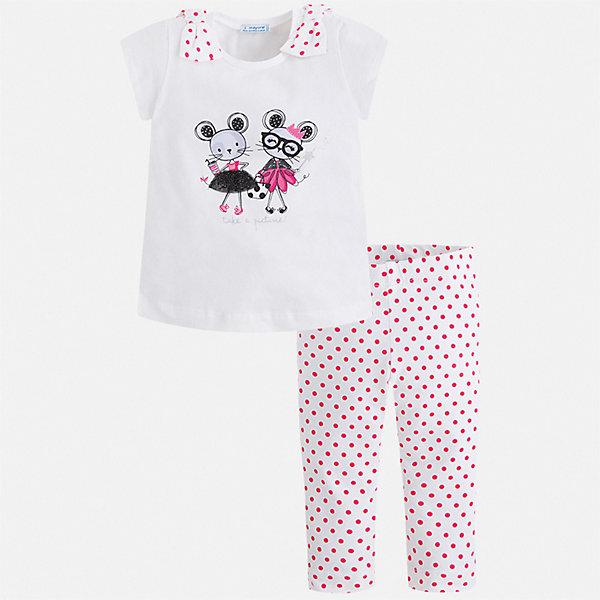 Комплект:леггинсы,футболка Mayoral для девочкиКомплекты<br>Характеристики товара:<br><br>• цвет: белый<br>• комплектация: леггинсы, футболка<br>• состав ткани: 95% хлопок, 5% эластан<br>• сезон: лето<br>• пояс: резинка<br>• короткие рукава<br>• страна бренда: Испания<br>• стиль и качество Mayoral<br><br>Удобные детские леггинсы и футболка сшиты из качественного материала с преобладанием хлопка в составе. Симпатичный комплект - детские леггинсы и футболка - подойдет для ношения в разных случаях. Этот комплект от Mayoral - отличный способ обеспечить ребенку комфорт в жаркую погоду. <br><br>Комплект: футболка, леггинсы Mayoral (Майорал) для девочки можно купить в нашем интернет-магазине.<br>Ширина мм: 123; Глубина мм: 10; Высота мм: 149; Вес г: 209; Цвет: розовый; Возраст от месяцев: 18; Возраст до месяцев: 24; Пол: Женский; Возраст: Детский; Размер: 92,134,128,122,116,110,104,98; SKU: 7553969;