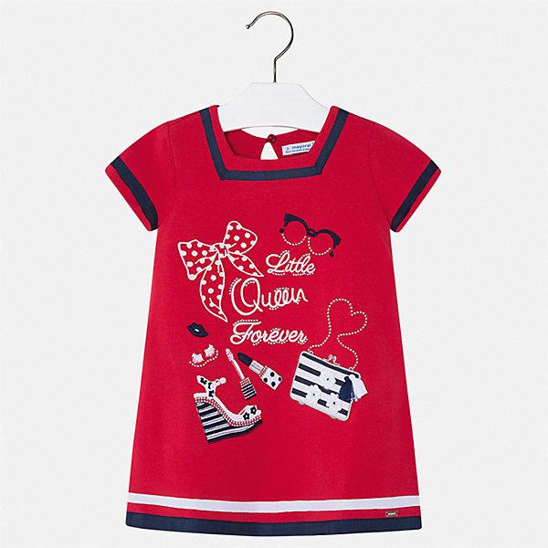 Платье Mayoral для девочкиПлатья и сарафаны<br>Характеристики товара:<br><br>• цвет: красный<br>• состав ткани: 95% хлопок, 5% эластан<br>• сезон: лето<br>• застежка: пуговица<br>• короткие рукава<br>• страна бренда: Испания<br>• стиль и качество Mayoral<br><br>Яркое платье для девочки от испанской компании Майорал - пример стильной и качественной одежды. Это платье для девочки от Майорал поможет обеспечить ребенку удобство. Детское платье отличается качественными фурнитурой и материалом. <br><br>Платье для девочки Mayoral (Майорал) можно купить в нашем интернет-магазине.<br>Ширина мм: 236; Глубина мм: 16; Высота мм: 184; Вес г: 177; Цвет: красный; Возраст от месяцев: 18; Возраст до месяцев: 24; Пол: Женский; Возраст: Детский; Размер: 92,134,128,122,116,110,104,98; SKU: 7554005;
