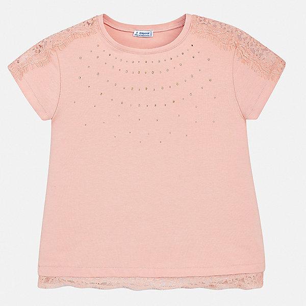 Футболка Mayoral для девочкиФутболки, поло и топы<br>Характеристики товара:<br><br>• цвет: розовый<br>• состав ткани: 95% хлопок, 5% эластан<br>• сезон: лето<br>• короткие рукава<br>• стразы<br>• страна бренда: Испания<br>• стиль и качество Mayoral<br><br>Эффектная детская футболка сделана из дышащей гипоаллергенной ткани, которая обеспечивает ребенку комфорт. Детская футболка поможет создать модный и удобный наряд для ребенка. Трикотажная футболка для девочки от Mayoral разнообразит детский гардероб. <br><br>Футболку Mayoral (Майорал) для девочки можно купить в нашем интернет-магазине.<br>Ширина мм: 199; Глубина мм: 10; Высота мм: 161; Вес г: 151; Цвет: бежевый; Возраст от месяцев: 96; Возраст до месяцев: 108; Пол: Женский; Возраст: Детский; Размер: 128/134,170,164,158,152,140; SKU: 7554156;