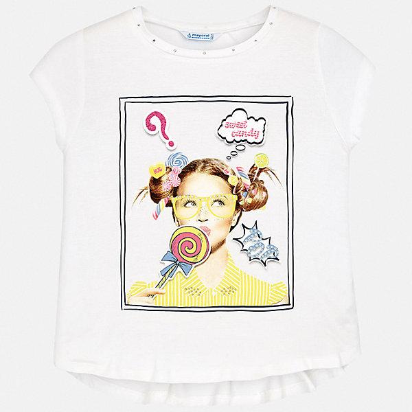 Футболка Mayoral для девочкиФутболки, поло и топы<br>Характеристики товара:<br><br>• цвет: белый<br>• состав ткани: 95% хлопок, 5% эластан<br>• сезон: лето<br>• короткие рукава<br>• стразы<br>• страна бренда: Испания<br>• стиль и качество Mayoral<br><br>Белая футболка для девочки от Mayoral разнообразит детский гардероб. Такая детская футболка сделана из дышащей гипоаллергенной ткани, которая обеспечивает ребенку комфорт. Детская футболка поможет создать модный и удобный наряд для ребенка.<br><br>Футболку Mayoral (Майорал) для девочки можно купить в нашем интернет-магазине.<br>Ширина мм: 199; Глубина мм: 10; Высота мм: 161; Вес г: 151; Цвет: желтый; Возраст от месяцев: 96; Возраст до месяцев: 108; Пол: Женский; Возраст: Детский; Размер: 128/134,170,164,158,152,140; SKU: 7554217;