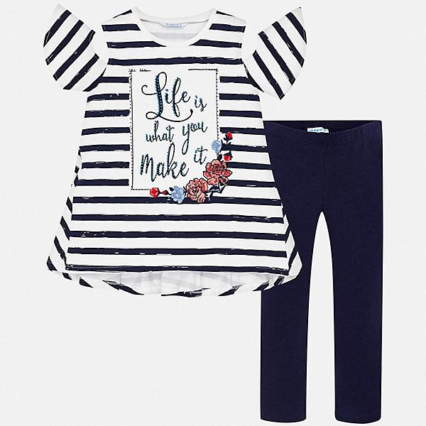 Комплект:леггинсы,футболка Mayoral для девочкиКомплекты<br>Характеристики товара:<br><br>• цвет: синий<br>• комплектация: леггинсы, футболка<br>• состав ткани: 95% хлопок, 5% эластан<br>• сезон: лето<br>• пояс: резинка<br>• короткие рукава<br>• стразы<br>• страна бренда: Испания<br>• стиль и качество Mayoral<br><br>Полосатая футболка и леггинсы для девочки от Майорал - отличный комплект для теплого времени года. В этом детском комплекте - две качественные и модные вещи. В футболке и леггинсах для девочки от испанской компании Майорал ребенок будет чувствовать себя удобно благодаря высокому качеству материала и швов. <br><br>Комплект: футболка, леггинсы Mayoral (Майорал) для девочки можно купить в нашем интернет-магазине.<br>Ширина мм: 123; Глубина мм: 10; Высота мм: 149; Вес г: 209; Цвет: синий; Возраст от месяцев: 96; Возраст до месяцев: 108; Пол: Женский; Возраст: Детский; Размер: 128/134,140,152,158,164,170; SKU: 7554307;