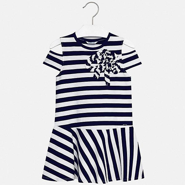 Платье Mayoral для девочкиЛетние платья и сарафаны<br>Характеристики товара:<br><br>• цвет: синий<br>• состав ткани: 95% хлопок, 5% эластан<br>• сезон: лето<br>• короткие рукава<br>• страна бренда: Испания<br>• стиль и качество Mayoral<br><br>Полосатое детское платье украшено эффектным декором. Платье для девочки сшито из дышащего и легкого качественного материала, поэтому он создает комфортные условия для тела. Платье для ребенка создано европейскими дизайнерами популярного бренда Mayoral с учетом потребностей детей.<br><br>Платье для девочки Mayoral (Майорал) можно купить в нашем интернет-магазине.<br>Ширина мм: 236; Глубина мм: 16; Высота мм: 184; Вес г: 177; Цвет: синий; Возраст от месяцев: 96; Возраст до месяцев: 108; Пол: Женский; Возраст: Детский; Размер: 158,152,140,128/134,170,164; SKU: 7554352;