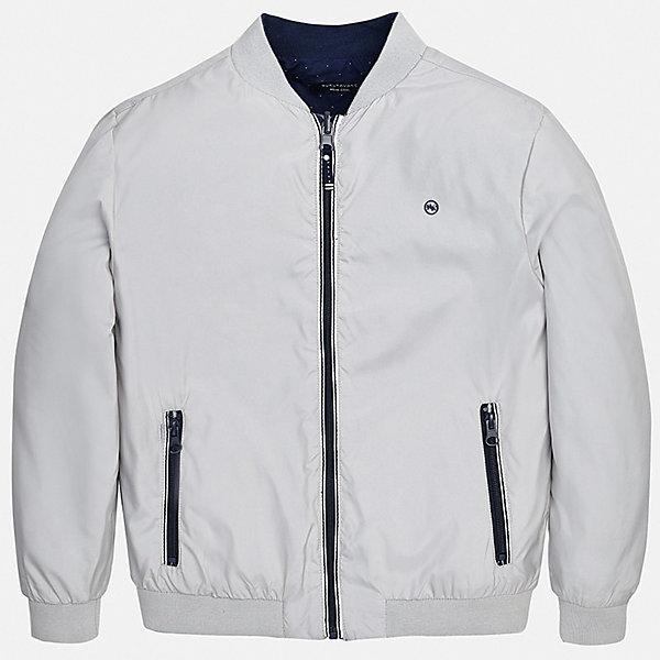 Куртка двусторонняя Mayoral для мальчикаВерхняя одежда<br>Характеристики товара:<br><br>• цвет: серый<br>• состав ткани: 100% полиэстер<br>• подкладка: 100% хлопок<br>• утеплитель: нет<br>• сезон: демисезон<br>• температурный режим: от +5 до +20<br>• особенности куртки: без капюшона, двусторонняя<br>• застежка: молния<br>• страна бренда: Испания<br>• неповторимый стиль Mayoral<br><br>Легкая двусторонняя детская куртка сшита из качественного на материала. Демисезонная куртка для мальчика Mayoral дополнена удобными карманами. Теплая куртка для ребенка отличается прямым силуэтом. Детская куртка обеспечит ребенку тепло и стильный внешний вид. <br><br>Куртку двустороннюю Mayoral (Майорал) для мальчика можно купить в нашем интернет-магазине.<br>Ширина мм: 356; Глубина мм: 10; Высота мм: 245; Вес г: 519; Цвет: серый; Возраст от месяцев: 96; Возраст до месяцев: 108; Пол: Мужской; Возраст: Детский; Размер: 128/134,170,164,158,152,140; SKU: 7556497;