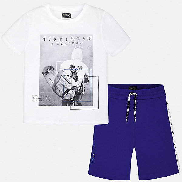 Комплект:Футболка с длинным рукавом,брюки Mayoral для мальчикаКомплекты<br>Характеристики товара:<br><br>• цвет: белый<br>• комплектация: шорты, футболка<br>• состав ткани: 100% хлопок<br>• сезон: лето<br>• особенности модели: спортивный стиль<br>• пояс: резинка, шнурок<br>• короткие рукава<br>• страна бренда: Испания<br>• неповторимый стиль Mayoral<br><br>Легкий летний комплект - футболка с принтом и шорты для мальчика от Майорал - отлично сочетается между собой, а также с другими вещами. В этом детском наборе - две качественные вещи. В футболке и шортах для мальчика от испанской компании Майорал ребенок будет выглядеть модно, а чувствовать себя - удобно. <br><br>Комплект: шорты, футболка Mayoral (Майорал) для мальчика можно купить в нашем интернет-магазине.<br>Ширина мм: 230; Глубина мм: 40; Высота мм: 220; Вес г: 250; Цвет: белый; Возраст от месяцев: 96; Возраст до месяцев: 108; Пол: Мужской; Возраст: Детский; Размер: 128/134,170,164,158,152,140; SKU: 7556658;