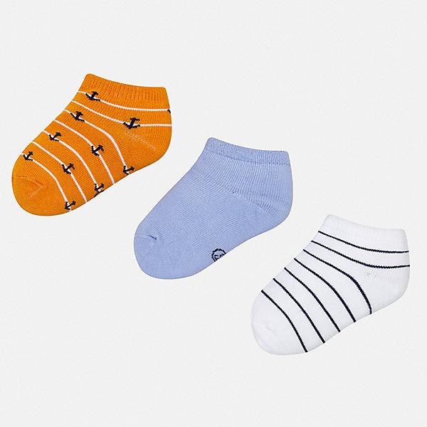 Комплект:3 пары носок Mayoral для мальчикаНоски<br>Характеристики товара:<br><br>• цвет: мульти<br>• комплектация: 3 пары<br>• состав ткани: 67% хлопок, 30% полиамид, 3% эластан<br>• сезон: круглый год<br>• страна бренда: Испания<br>• неповторимый стиль Mayoral<br><br>Симпатичные детские носки от популярного испанского бренда Mayoral состоят преимущественно из натурального дышащего хлопка. Носки для детей комфортно сидят благодаря мягкой резинке. Для носков для детей, популярный бренд Mayoral используют только качественные материалы. <br><br>Комплект: 3 пары носков Mayoral (Майорал) для мальчика можно купить в нашем интернет-магазине.<br>Ширина мм: 87; Глубина мм: 10; Высота мм: 105; Вес г: 115; Цвет: серый; Возраст от месяцев: 120; Возраст до месяцев: 132; Пол: Мужской; Возраст: Детский; Размер: 19-22,22-24; SKU: 7556801;